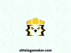 Animal logo with the shape of an eagle combined with a crown with black and yellow colors.