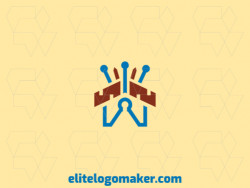 Abstract logo with the shape of a house combined with a crown with brown and blue colors.