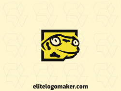 Simple and professional logo in the shape of a salamander combined with a square with illustrative style, the colors used are black and yellow.