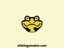 Simple logo in the shape of a salamander head composed of abstract shapes and refined design, the colors used in the logo are black and yellow.