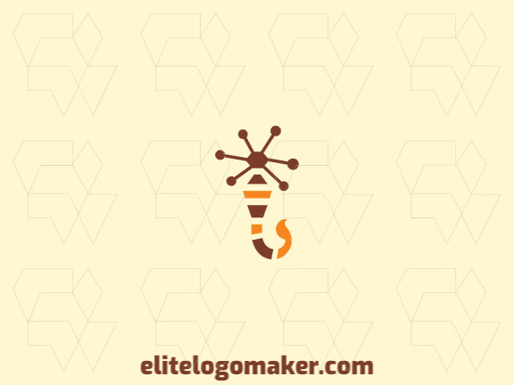 Double meaning logo with the shape of a scorpion combined with circles with yellow and brown colors.