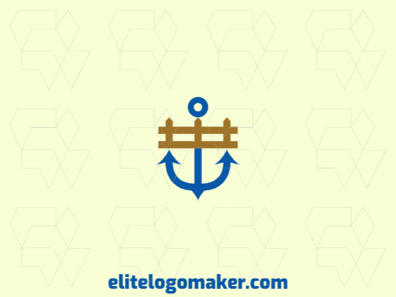 Abstract logo design with the shape of a fence combined with an anchor with blue and brown colors.