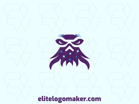 Vector logo in the shape of a sea monster with abstract style with blue and purple colors.