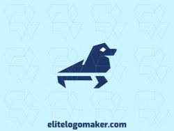 Seal animal logo composed of solid shapes and minimalist style, the color used is blue.