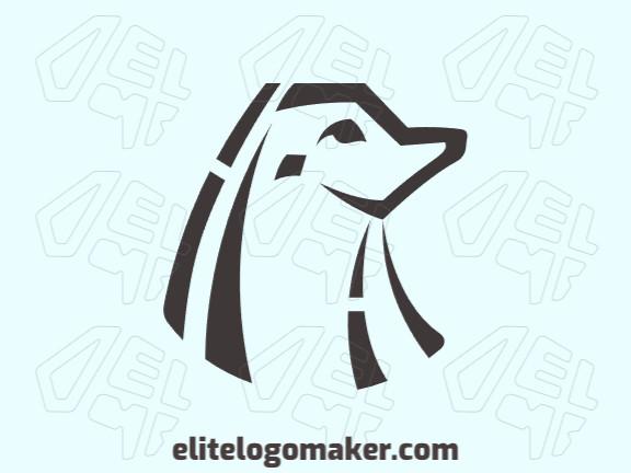 Logotipo criativo com a forma de uma foca com design memorável e estilo simples, a cor utilizado no logotipo é marrom.