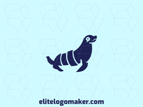 Animal logo with solid shapes forming a seal with a refined design, the color used is blue.