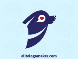 Logotipo minimalista com ideia incrível formando uma foca combinado com um coração composto por formas abstratas com as cores preto, azul, e vermelho.