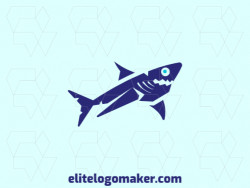 Childlike logo in the shape of a shark composed of abstracts shapes and refined design with blue color.