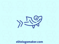 Customizable logo consisting of solid shapes and monoline style forming a shark with blue color.