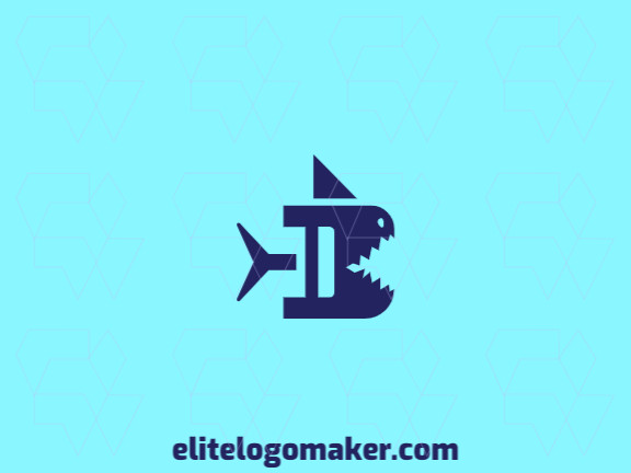 """Create your logo in the shape of a shark combined with a letter """"B"""" with abstract style and the color blue."""