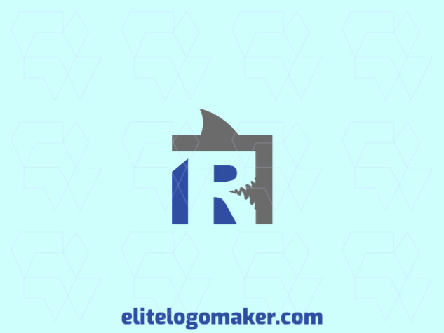 """Modern logo in the shape of a shark combined with a letter """"R"""", with professional design and abstract style."""