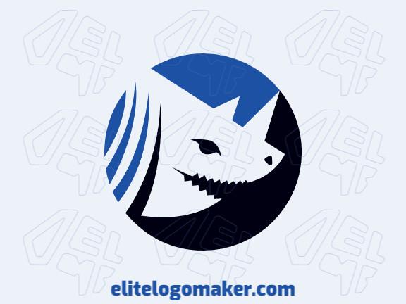Logotipo abstrato com formas sólidas formando um tubarão mesclado com chifres de rinoceronte com design refinado e cores azul e preto.