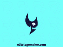 Create a vector logo for your company in the shape of a shark, with an abstract style, the color used was blue.