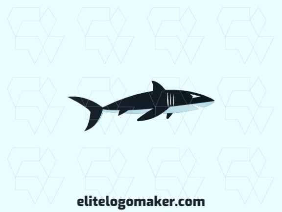 Illustrative logo in the shape of a shark composed of abstracts shapes with blue and white colors.