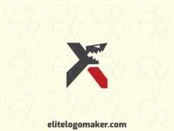 """Logo ready in the shape of a shark combined with a letter """"x"""" composed of creative design and abstract style."""