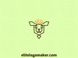 Outline logo with the shape of a sheep combined with a crown with brown and yellow colors.