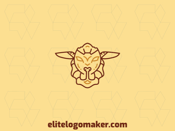 Vector logo in the shape of a sheep with monoline style and brown and yellow colors.