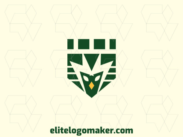 Logo with creative design, forming a shield combined with a bird, with abstract style and customizable colors.