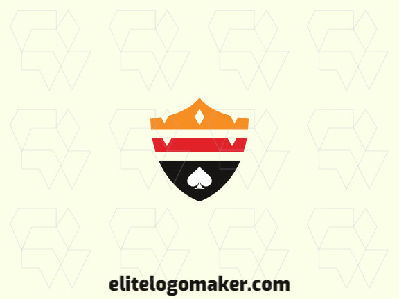 Simple logo with solid shapes forming a shield combined with a crown and a spade, with a refined design.