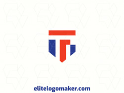 """Customizable logo in the shape of a shield combined with a letter """"F"""", with creative design and abstract style."""
