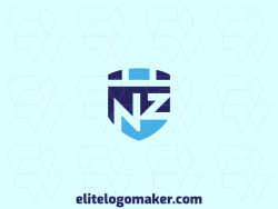 "Logo available for sale in the shape of a shield combined with a letter ""N"" and a letter ""Z"", with abstract style and blue color."