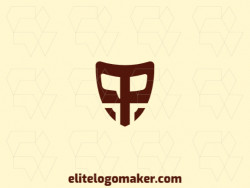 "Create a logo for your company in the shape of a shield combined with a letter ""P"", with abstract style and brown color."
