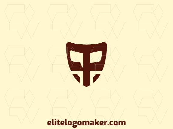 """Create a logo for your company in the shape of a shield combined with a letter """"P"""", with abstract style and brown color."""