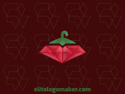 Gradient company logo in the shape of a pepper combined with a diamond and a hanger, the colors used are green, red, and white.