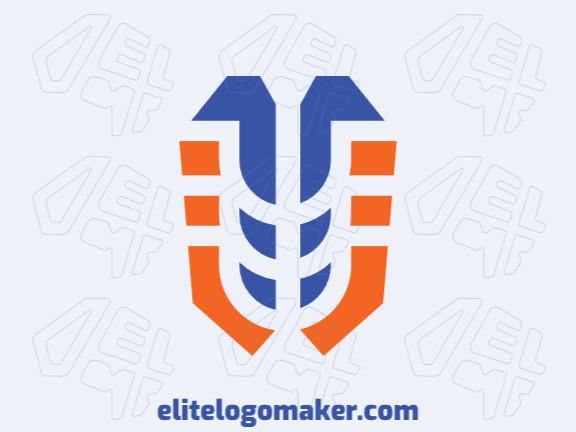 Logotipo grátis com a forma de um cérebro mesclado com um esqueleto composto por um design criativo e estilo abstrato.