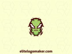 Symmetric logo with a refined design forming a skull, the colors used was green and brown.