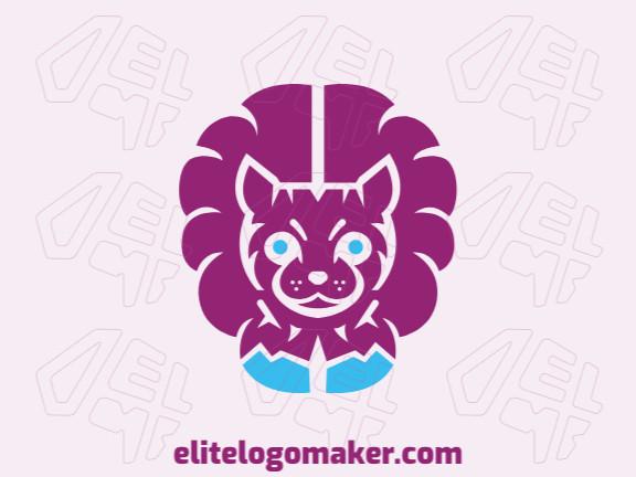 Logotipo abstrato com formas sólidas formando um gato combinado com um cérebro com design refinado e cores azul e roxo.