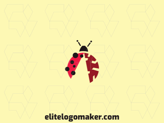 Simple logo in the shape of a ladybug combined with a brain with red and black colors.