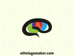 Stylized company logo in the shape of a snake combined with a brain with blue, black, green, red, orange and purple colors.