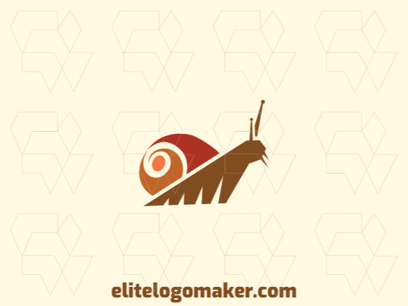 Simple logo template in the shape of a snail composed of simples shapes with red, orange, and brown colors.