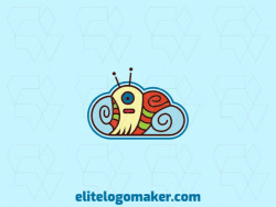 Illustrative logo in the shape of a cloud combined with a snail with blue, brown, green, yellow and orange colors.