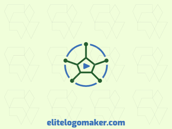 Circular logo with a shape of a soccer ball combined with a play icon with blue and green colors.