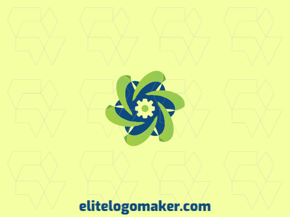 Abstract logo design composed of solid shapes and a circle forming an asterisk with green and blue colors.