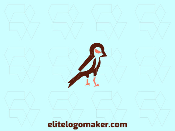 Animal logo with the shape of a sparrow composed of abstracts shapes with brown and orange colors.