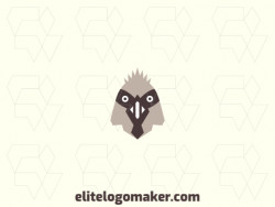 Stylized logo design with the shape of a sparrow head composed of abstracts shapes with brown and beige colors.