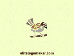 Mosaic logo design in the shape of a sparrow composed of abstracts shapes with yellow, gray, brown, and beige colors.