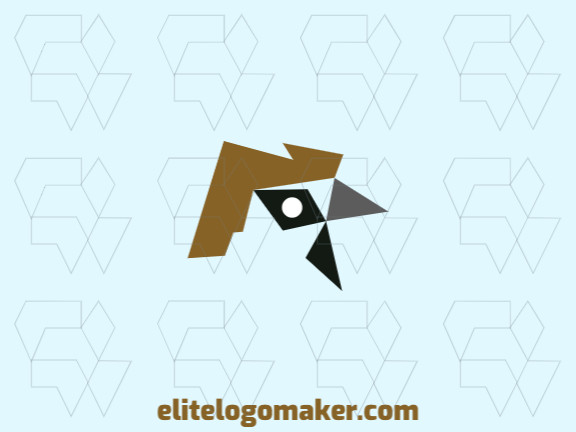 Minimalist logo with a refined design, forming a sparrow, the colors used were brown and black.