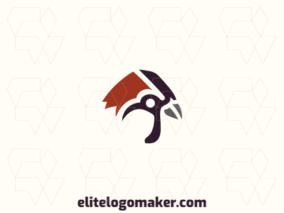 Customizable logo in the shape of a sparrow head, with an abstract style, the colors used was brown and black.