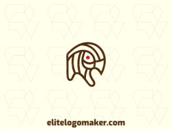 Multiple lines logo with a refined design forming a sparrow with the color brown.