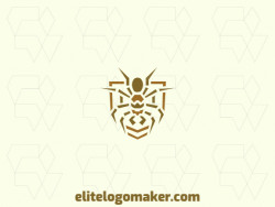 Customizable logo design with creative design forming a spider combined with a shield with the brown color.