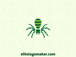 Illustrative logo in the shape of a spider composed of abstracts shapes with green colors.