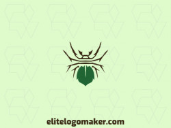 Abstract logo with the shape of a spider combined with a leaf with brown and green colors.