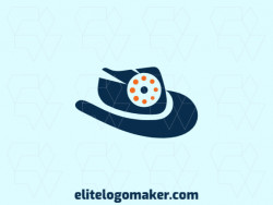 Abstract logo design consists of the combination of a hat with a shape of a camera with orange and blue colors.