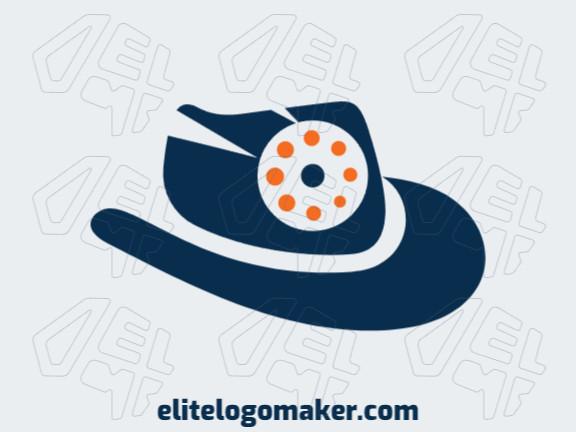 Logotipo grátis com a forma de um chapéu combinado com uma câmera composto por um design criativo e estilo abstrato.