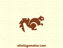 Squirrel animal logo composed of solid shapes and abstract style, the color used is brown.