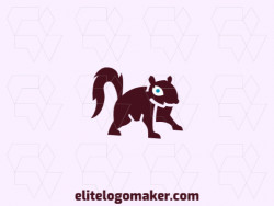 Animal mascot logo with the shape of a squirrel with brown and blue colors.